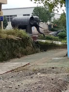 啥寓意?高桥工厂门口摆着一牛一象,暗示人要像牛一样工作?