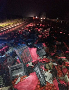 """衢州段高速满地""""血""""?大货车侧翻之后整车的西红柿全撒了"""