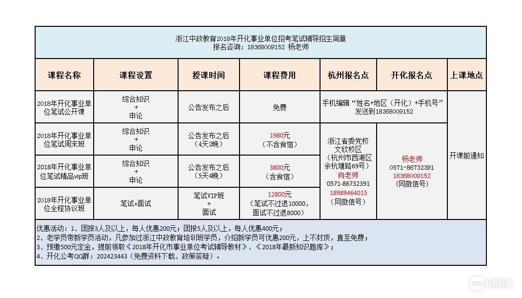 2018年开化事业的考试时间
