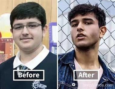 分享的减肥后脸型对比图,