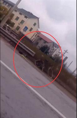 揪心:沙金大道往廿里方向,一大货车撞上自行车!