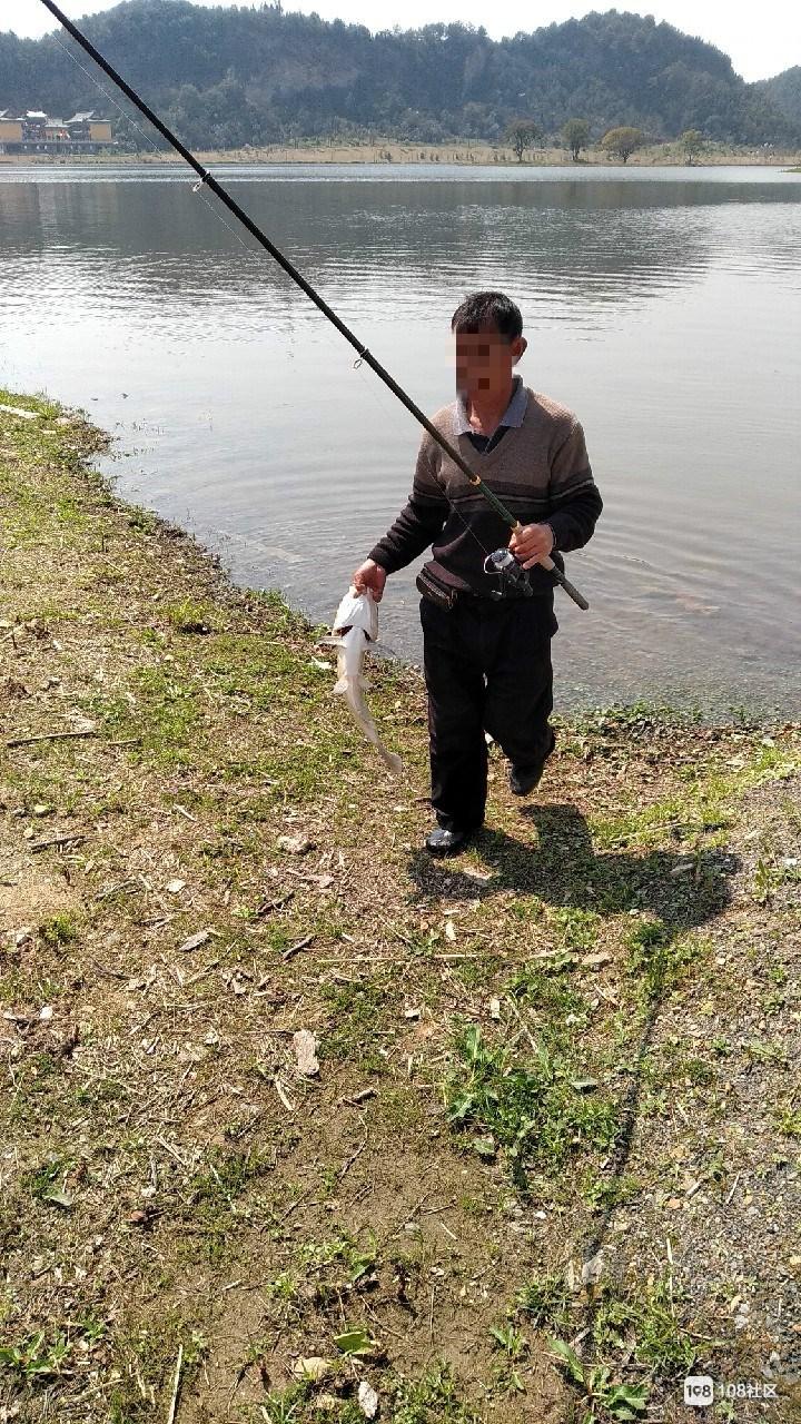 昌南湖边有严禁标记竟很多人来钓鱼!看人钓了好大一条