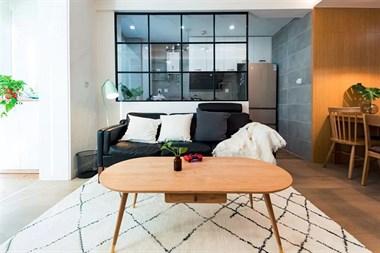85㎡北欧混日式2室2厅,玻璃隔断让视觉感翻倍
