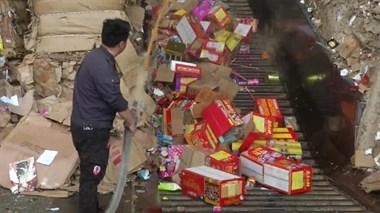 温岭警方集中销毁2000余件非法烟花爆竹