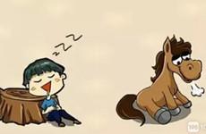 猜谜到!一个睡着的人 一匹叹气的马 是个什么成语?