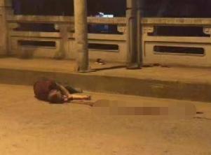 昌江大桥一男子被撞 头部流了一摊血!现场没看到其他车!