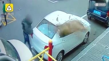 车位被占男子狂砸车,孕妇吓得休克