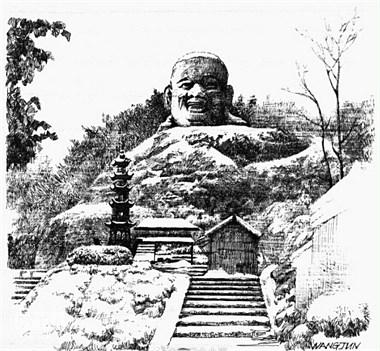 钢笔画下的新昌大佛寺景区,你见过吗