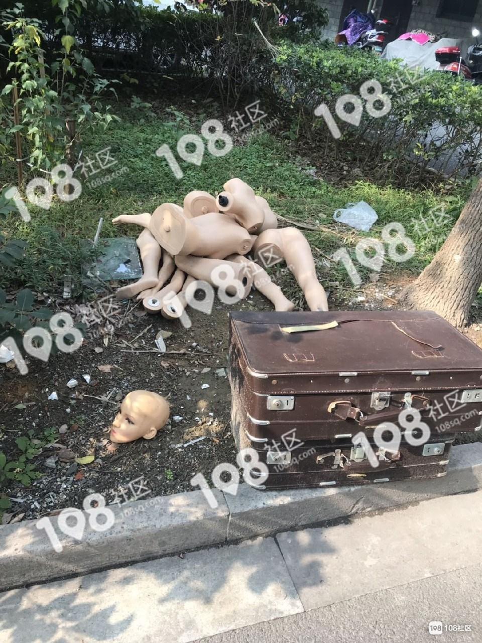 吓得腿软!市区这路边有一只旧皮箱和女人腿...