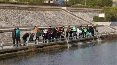 """诸暨15个""""电鱼佬"""",被罚在江边齐刷刷站成排做这事"""