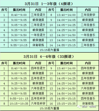 3月31日-4月3日,德清县小学生线上教学课程播出安排