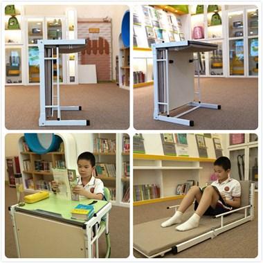 学生辅导班课桌椅 课桌可展开成午休床两用