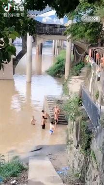 胆大!汛期水位上涨河水发黄,九峰桥下居然有人裸身做这事!