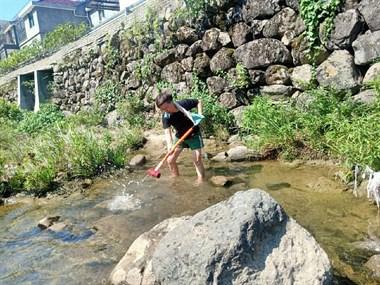 用原始的方法收获野生溪鱼