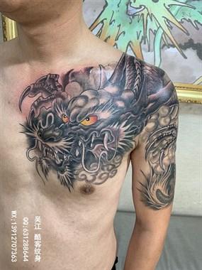 过肩龙纹身图案#吴江酷客纹身#半甲龙纹身#吴江刺青
