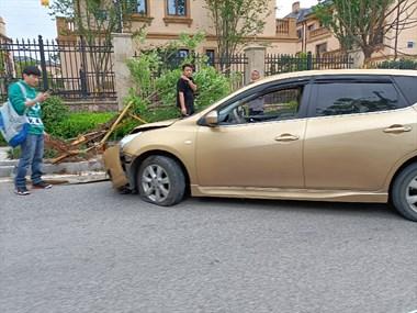 合溪庄园附近发生车祸!一司机开车撞倒行道树,车头稀烂