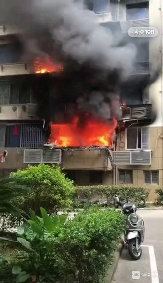 定海这里突燃大火,直往窗外冒!消防、救护车都到现场…