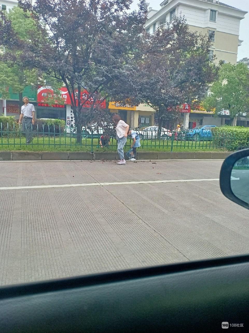 带着两小孩在大马路中央摘李子,为了口吃的命都不要了?